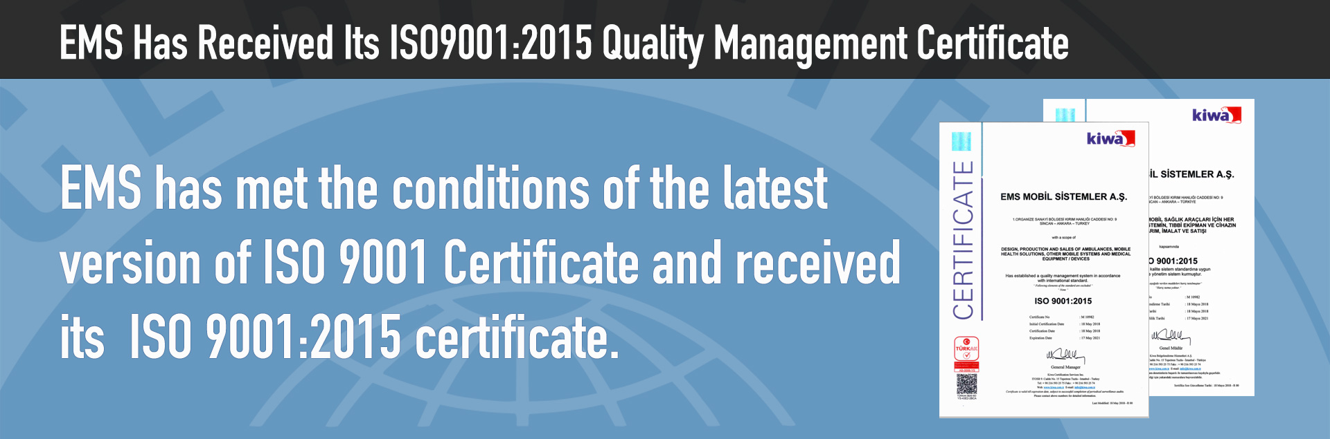 EMS Has Received Its ISO9001:2015 Quality Management Certificate